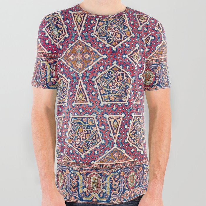 Kashan__Antique_Persian_Rug_Print_All_Over_Graphic_Tee_by_Vicky_BragoMitchellAr__Small