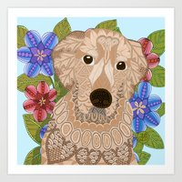 golden retriever Art Prints featuring Golden Retriever by ArtLovePassion