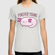 Adorable Axolotls MEDIUM Womens Fitted Tee Silver