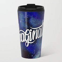 IMAGINATION // Galaxy Space Painted Milky-Way Hand Lettering Travel Mug
