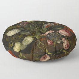"Cornelis Kick ""A still life with parrot tulips, poppies, roses, snow balls, and other flowers"" Floor Pillow"