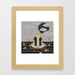 Lama in the ocean Framed Art Print