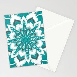 Teal Gray Mandala Flower Stationery Cards