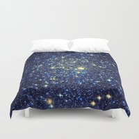 galaxy Duvet Covers featuring galaxY Stars : Midnight Blue & Gold by 2sweet4words Designs