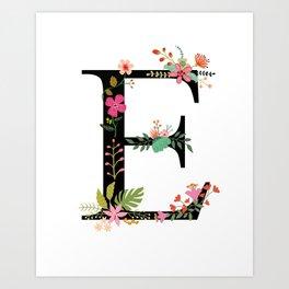 Letter E Monogram, Floral, Black Art Print