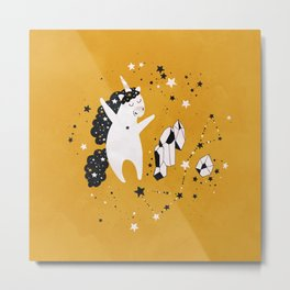 Stellar Unicorn with Crystal Metal Print