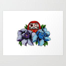 Daruma Doll Peony Flowers Tattoo Art Print