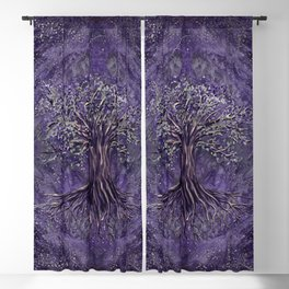Tree of life -Yggdrasil Amethyst and silver Blackout Curtain