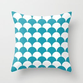 Fan Pattern 321 Turquoise Throw Pillow