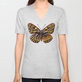 Brown and yellow butterfly Unisex V-Neck