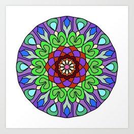 Edgy floral mandala Art Print