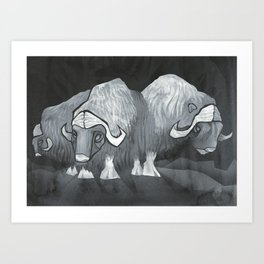 Muskoxen (third shift) Art Print