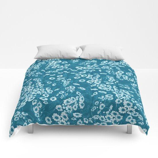 Daisy Dream Blue Comforters