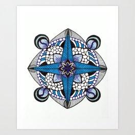 3d blue dirction Art Print