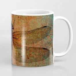 Dragonfly On Orange and Green Background Coffee Mug