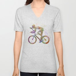 Cyclist competing 01 in watercolor Unisex V-Neck