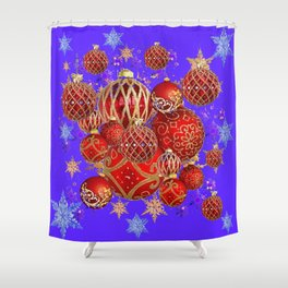 RED CHRISTMAS HOLIDAY PURPLE SNOWFLAKES ART Shower Curtain