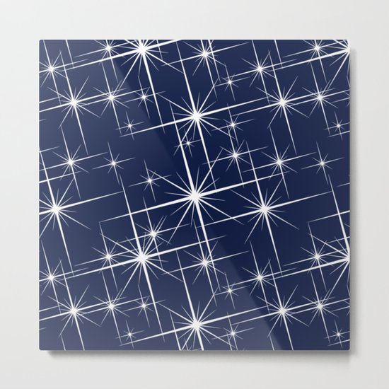 Indigo Navy Blue Starry Night Metal Print