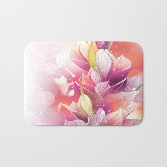 Woman And Flowers By Annie Zeno  Bath Mat