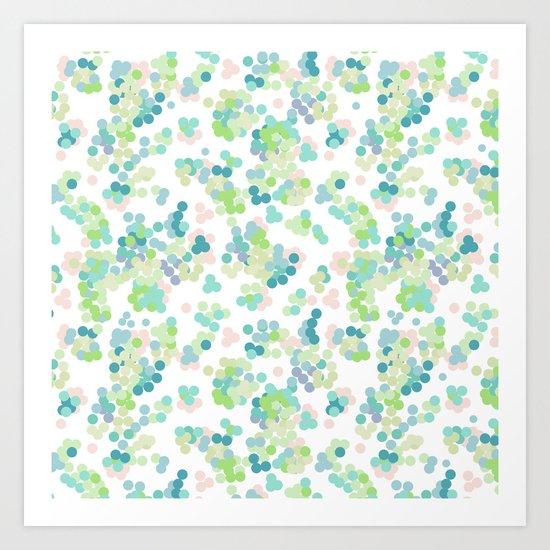 Blue green polka dots on a white background . Art Print