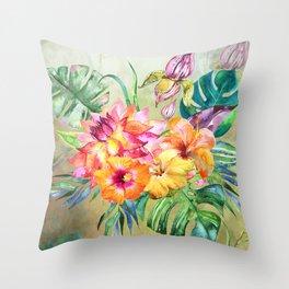 Tropical Hibiscus Garden Throw Pillow