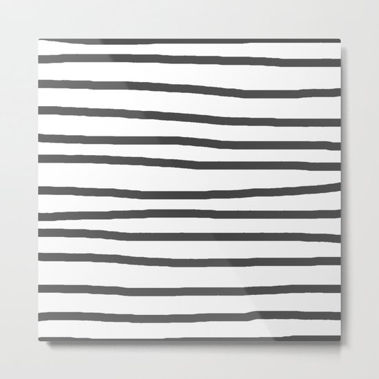 Simply Drawn Stripes in Simply Gray Metal Print