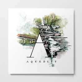 A is for Aqueduct Metal Print