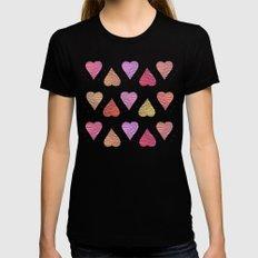 Hearts, love Womens Fitted Tee Black MEDIUM