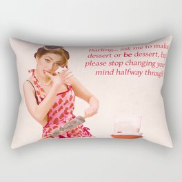 """Make Up Your Mind"" - The Playful Pinup - Baking Housewife Pinup by Maxwell H. Johnson Rectangular Pillow"