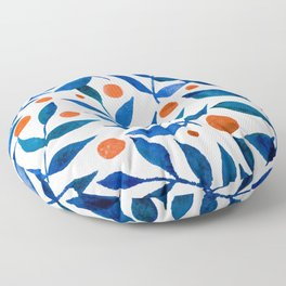 Watercolor berries and branches - blue and orange Floor Pillow