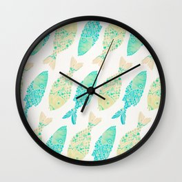 Indonesian Fish Duo – Turquoise & Cream Palette Wall Clock