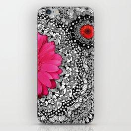 Pink Flower Black White Doodle Art Collage iPhone Skin