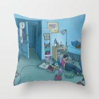 dc Throw Pillows featuring DC Sleeps by kozyndan