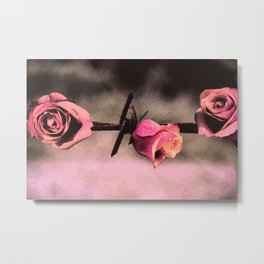 Barbed Wire Roses (Love) Metal Print