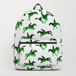 Watercolor Showjumping Horses (Green) Backpack