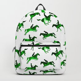 Watercolor Showjumping Horses (Green) Backpack