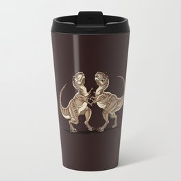 Two dinosaurs fighting each other illustration Travel Mug