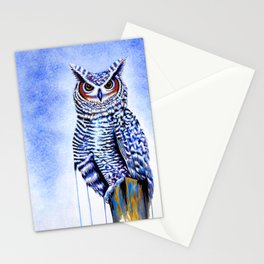 Blue Great Horned Owl Stationery Cards