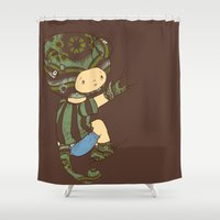 charlie brown Shower Curtains featuring Charlie by Rachel Isaacs
