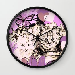 Frieda's Baby Cats in Pink Wall Clock