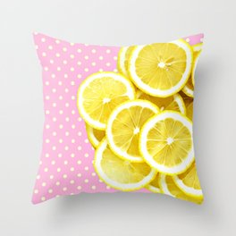 Candy Pink and Lemon Polka Dots Throw Pillow