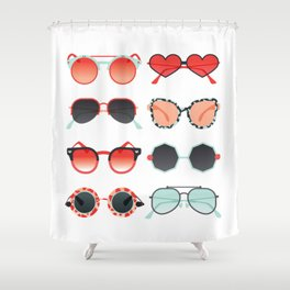 Sunglasses Collection – Red & Mint Palette Shower Curtain