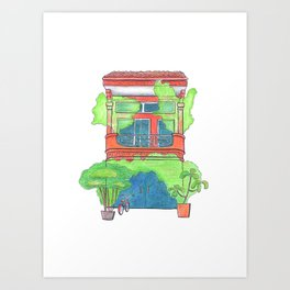 Orange house with green plants front view, travel sketch from Siem Reap, Cambodia Art Print