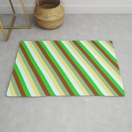 Dark Sea Green, Tan, Light Cyan, Lime Green, and Brown Colored Pattern of Stripes Rug