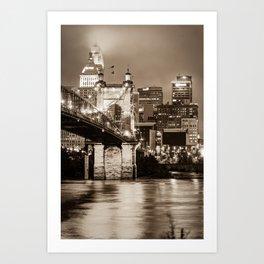 Cincinnati Skyline and John Roebling Bridge - Vertical Sepia I Art Print
