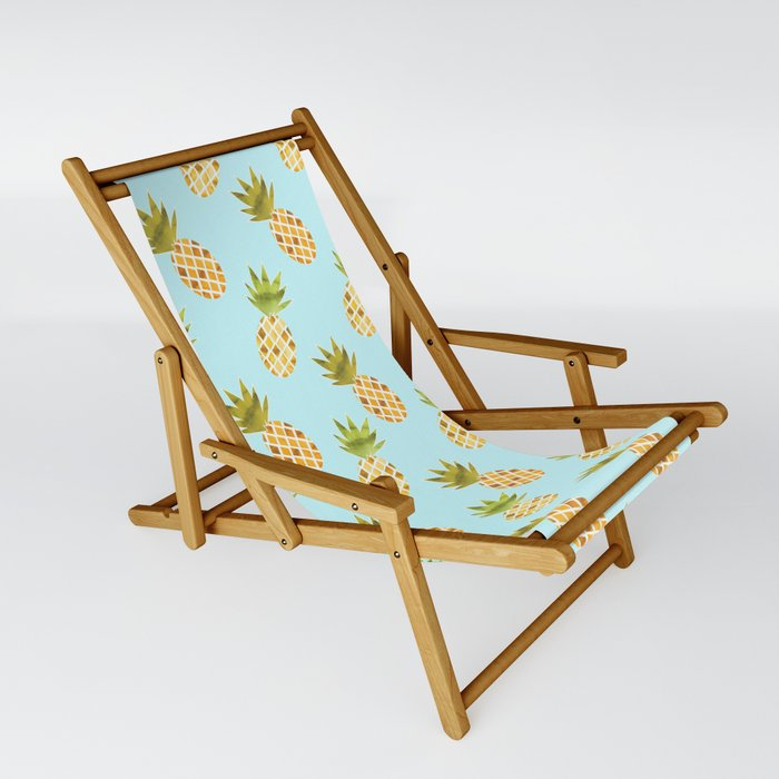 Blue Tropical Pineapple Pattern Sling Chair