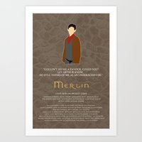 merlin Art Prints featuring Merlin by MacGuffin Designs