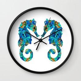 Blue Seahorse Art by Sharon Cummings Wall Clock
