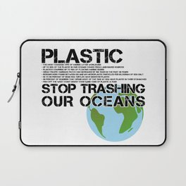 Anti Plastic Ocean Water Pollution Facts Protest (Read Fine Print) Laptop Sleeve