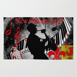 New Orleans Jazz Saxophone And Piano Music Rug